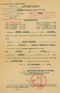 Attestation d'appartenance aux FFC du 23 septembre 1948