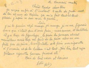 Lettre adressée par Robert THIVIN à sa famille depuis la prison de Nice le 8 décembre 1943