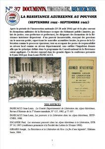 Première page du DTR N° 37 - La Résistance azuréenne au pouvoir (sept 1944-sept 1945)